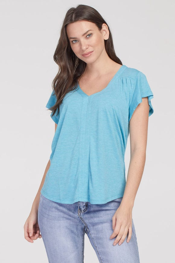 RUFFLED SLEEVE SHIMMER HEATHERED TOP