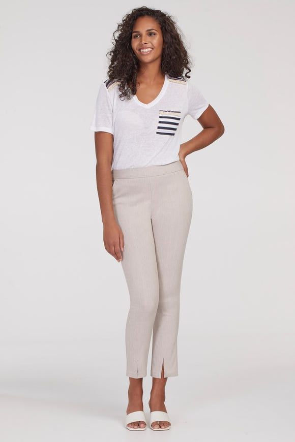 FLATTEN IT® PULL-ON ANKLE PANT WITH FRONT SLIT