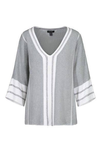 V-NECK SWEATER WITH NECKLINE AND SLEEVE BORDER