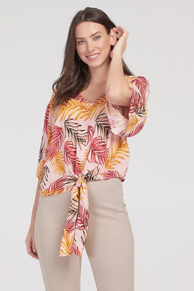V-NECK LUREX BLOUSE WITH FRONT TIE