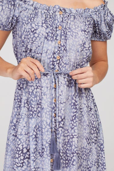 ON-AND-OFF-SHOULDER HIGH LOW HEM DRESS