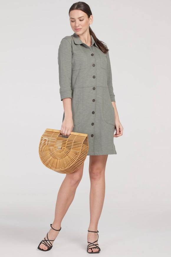 BUTTON FRONT CARGO DRESS