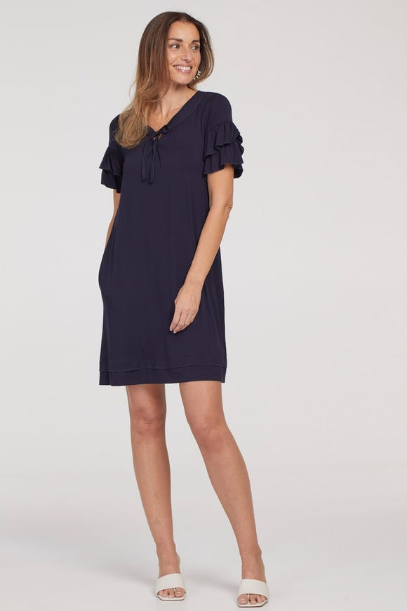 FLUTTER SLEEVE JERSEY DRESS