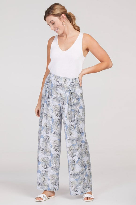 PULL-ON WIDE LEG PANT WITH TIE-UP DETAILING