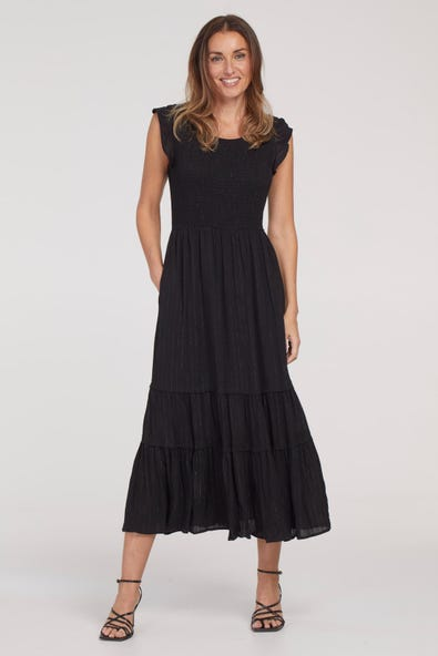 SMOCKED DRESS WITH POCKETS