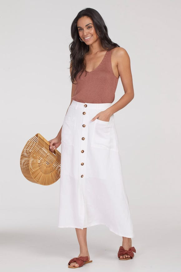 BUTTON-DOWN LINEN SKIRT