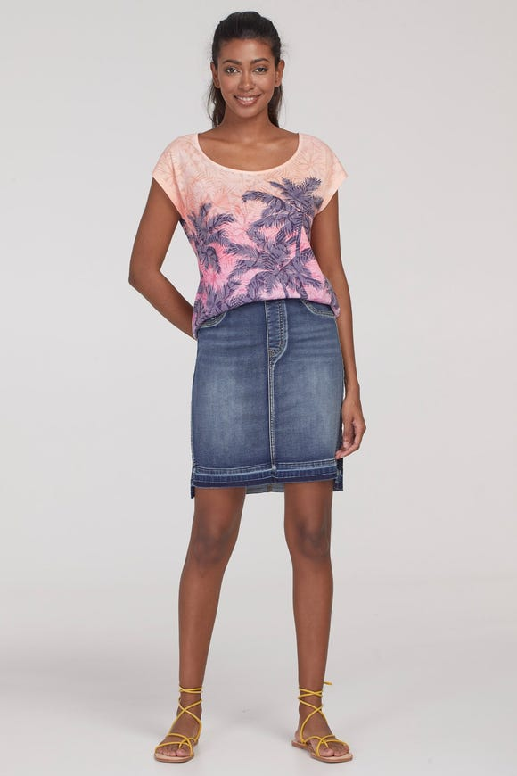STEP HEM COMFORT DENIM SKIRT
