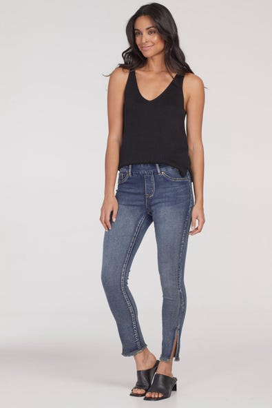 AUDREY PULL-ON ANKLE JEGGING WITH SLIT