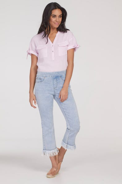 AUDREY PULL-ON STRAIGHT CROP WITH FRINGE EDGE
