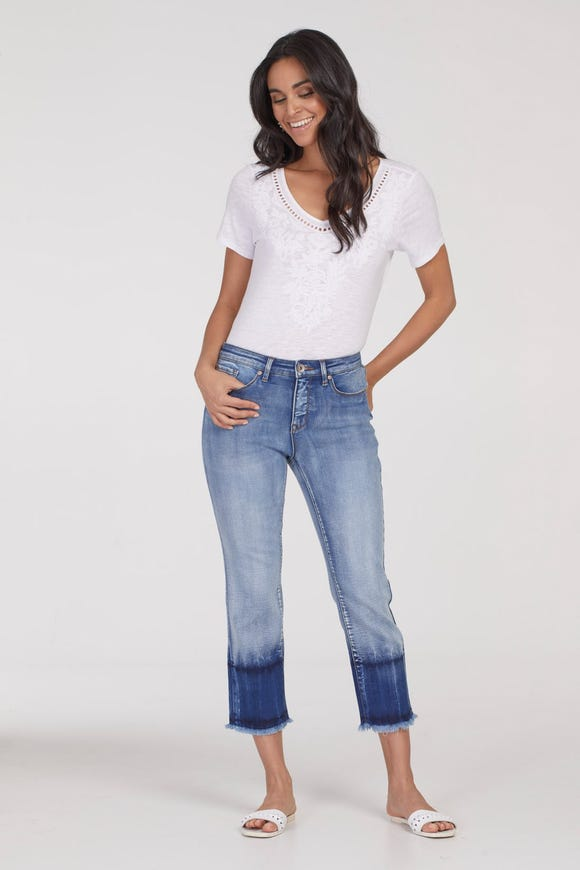 AUDREY FIVE POCKET STRAIGHT CROPPED JEANS