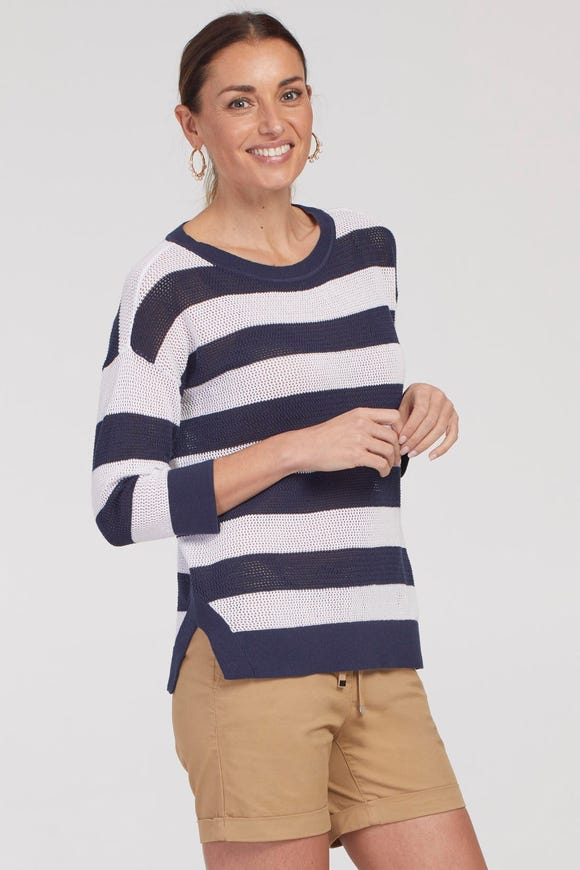 OPEN STITCH COTTON  STRIPE SWEATER