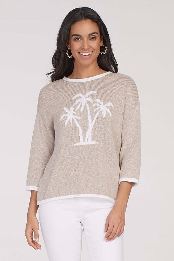 PALM MOTIF COTTON SWEATER