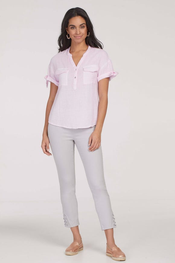 SHORT SLEEVE COTTON BLOUSE