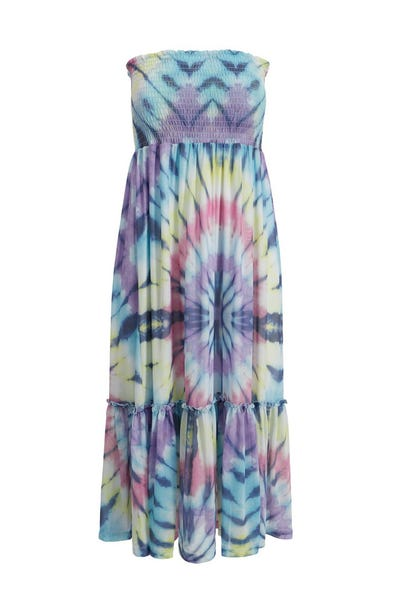 TIE DYE SUNDRESS WITH REMOVABLE STRAPS