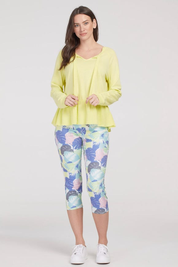 AUDREY PULL-ON  PRINTED SLIM CAPRI