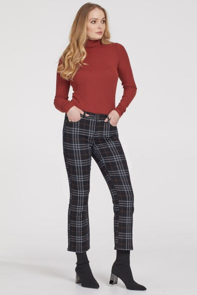 PLAID STRAIGHT ANKLE PANT