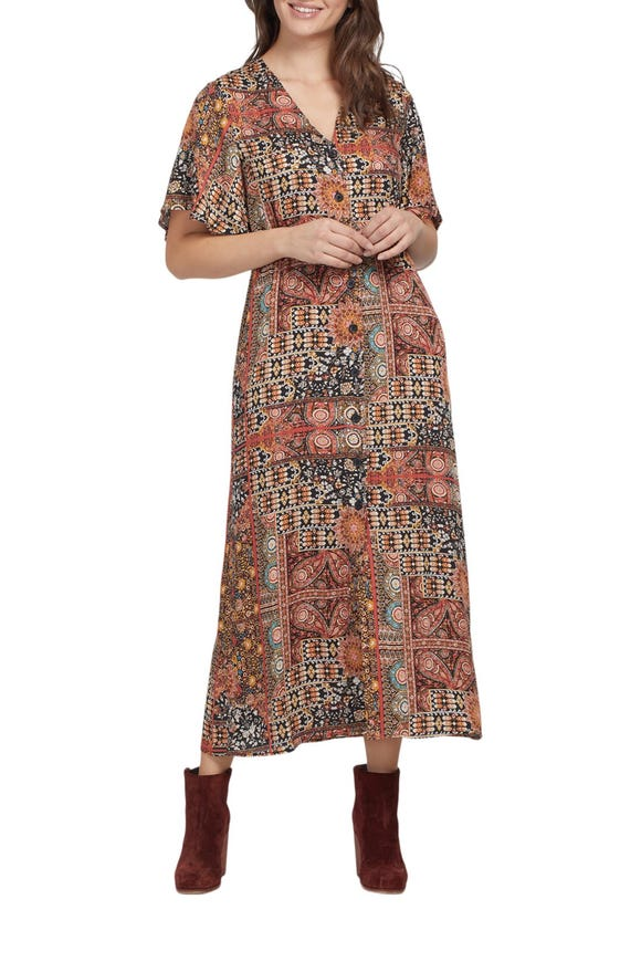 BUTTON FRONT MAXI DRESS WITH BELL SLEEVE