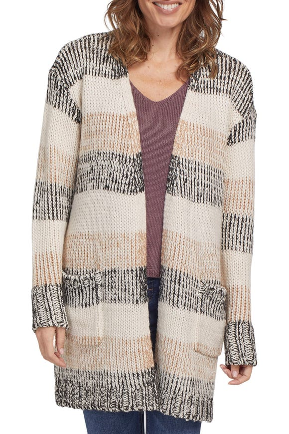 LONG STRIPED  KNITTED CARDIGAN WITH POCKETS
