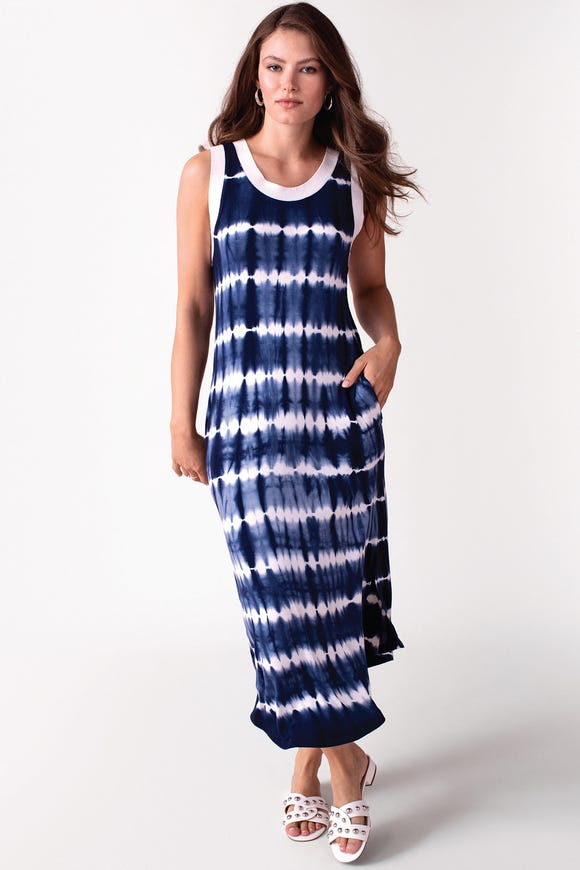 SLEEVELESS TIE-DYE JERSEY DRESS