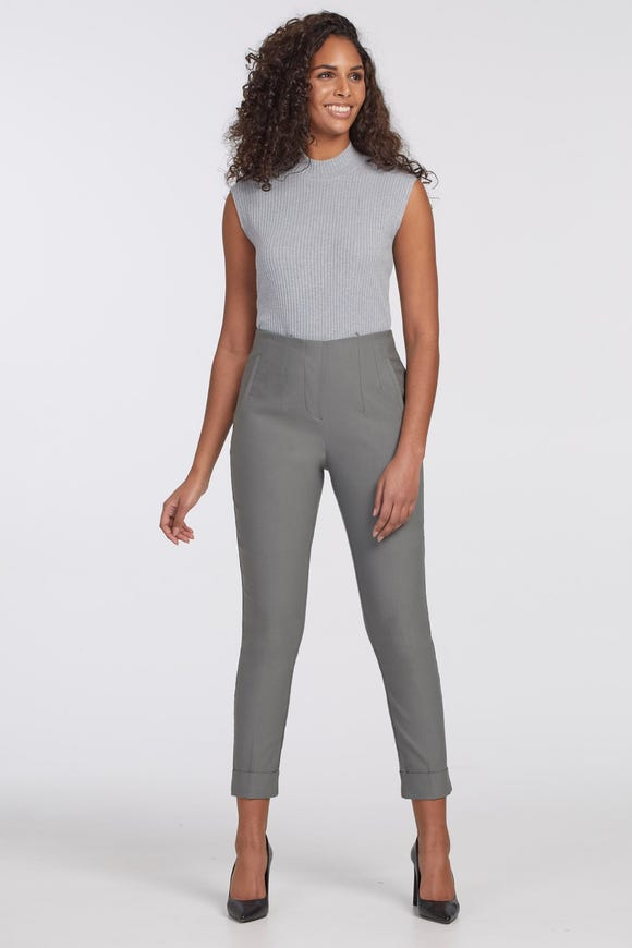HIGH RISE PULL ON CUFFED TWILL ANKLE PANTS