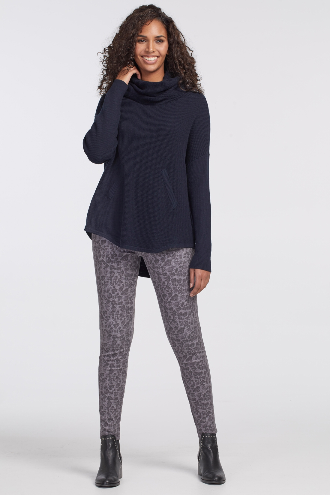 COWL NECK SWEATER WITH FRONT POCKET DETAIL